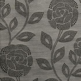 Florence - Jet - 100% polyester fabric made in two different dark shades of grey, with roses and leaf patterns made up of small dots