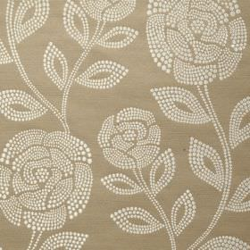 Florence - Ash Rose - Light cream and brown-beige coloured 100% polyester fabric, featuring a pattern of small dots making up roses and leav