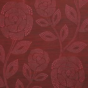 Florence - Carnberry - Luxurious 100% polyester fabric featuring a rose and leaf pattern made up of small dots in two dark shades of burgund