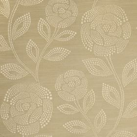 Florence - Sandstone - Champagne and cream coloured roses and leaves made up of small dots printed on fabric made from 100% polyester