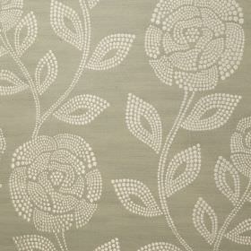 Florence - Pale Mint - Cream coloured dots making up rose and leaf patterns on light grey-green coloured fabric made from 100% polyester