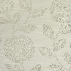 Florence - Silk - Ivory coloured 100% polyester, featuring a light grey pattern of dots making up simple leaves and pretty roses
