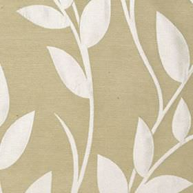 Gardenia - Ivory - Simple white leaves and vines patterning a wafer coloured polyester and viscose blend fabric background