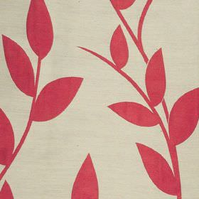 Gardenia - Pillar Box - Cream coloured polyester and viscose blend fabric, printed with a bright red design of simple leaves and vines