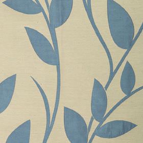 Gardenia - Mineral Blue - Dusky blue and cream coloured polyester and viscose blend fabric, featuring a simple, classic leaf and vine patter