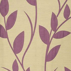 Gardenia - Cassis - Leaves and vines printed in a rich purple colour on light creamy yellow coloured fabric made from polyester and viscose