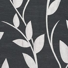 Gardenia - Silver - Polyester and viscose blend fabric made with a monochrome design of simple leaves and vines in black and white