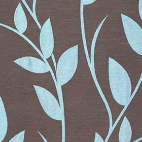 Gardenia - Turquoise - Fabric made from leaf and vine patterned polyester and viscose, featuring a sky blue design on a dark brown backgroun
