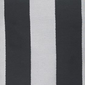 Gardenia Stripe - Silver - Fabric made from vertically striped polyester and viscose, featuring a simple, block design in black, white and pal