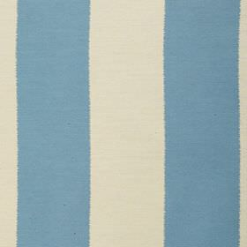 Gardenia Stripe - Mineral Blue - Polyester and viscose blend fabric featuring a simple block stripe design in cream and light sky blue colou