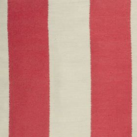Gardenia Stripe - Pillar Box - Bright red and ivory coloured stripes making up a simple, vertical design on fabric blended from polyester an
