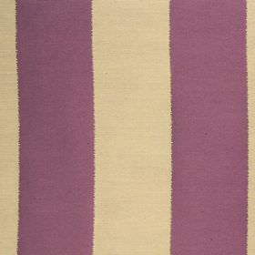 Gardenia Stripe - Cassis - Vertically striped, violet and creamy yellow coloured polyester and viscose blend fabric