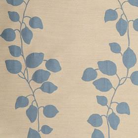 Gardenia Trellis - Mineral Blue - Simple light, dusky blue leaves and vines printed on cream coloured fabric made from a blend of polyester