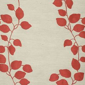 Gardenia Trellis - Pillar Box - Off-white polyester and viscose blend fabric, featuring a simple leaf and vine pattern in a fiery orange-red