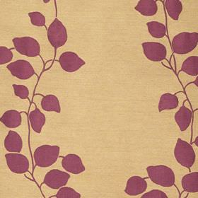 Gardenia Trellis - Cassis - Leaf and vine print patterned polyester and viscose blend fabric, with a plum coloured design on a honey coloured ba