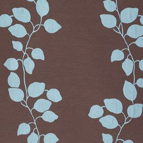Gardenia Trellis - Turquoise - Chocolate brown and bright sky blue coloured polyester and viscose blend fabric, patterned with simple leaves