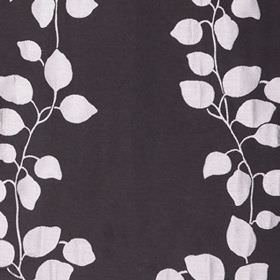 Gardenia Trellis - Silver - Monochrome black and white leaves and vines printed in a simple pattern on polyester and viscose blend fabric