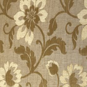 Hampshire - Antique Gold - Creamy yellow and khaki coloured flowers and leaves on light beige polychenille, polyester and cotton blend fabri