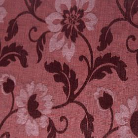 Hampshire - Damson - Dusky pink polychenille, polyester and cotton blend fabric printed with pale pink & dark wine coloured flowers & leaves