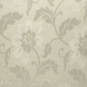 Hampshire - Silk - Fabric made from polychenille, polyester and cotton, printed with flowers and leaves in cream, light grey and white
