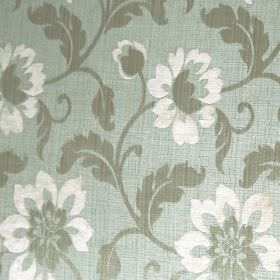 Hampshire - Eau De Nil - Light shades of blue, grey and white making up a floral and leaf design on polychenille, polyester and cotton blend f