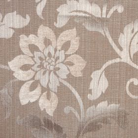 Hampshire - Mocha - Cream, chrome and off-white coloured florals and leaves on light brown polychenille, polyester and cotton blend fabric