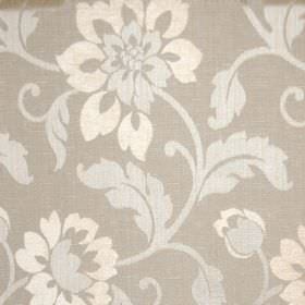Hampshire - Latte - Polychenille, polyester and cotton blend fabric printed with flowers and leaves in white and creamy brown shades