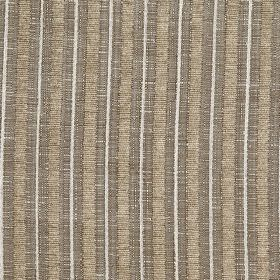 Hampshire Stripe - Mocha - Fabric made from white, light grey and dark brown-grey polychenille, polyester and cotton, with a vertical stripe