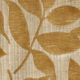Henley - Soft Gold - Caramel coloured leaves creating a raised, textured patternon light beige polychenille and filament yarn blend fabric