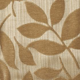 Henley - Biscuit - Gold coloured raised, textured leaves patterning polychenille and filament yarn blend fabric in light creamy brown