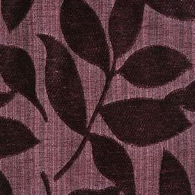 Henley - Mulberry - Light and dark shades of plum making up a polychenille and filament yarn blend fabric, with raised, textured leaves