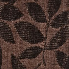 Henley - Chocolate Brown - A design of raised, textured leaves on fabric made from polychenille and filament yarn in two very dark shades of