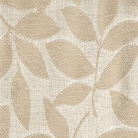Henley - Oatmeal - Fabric made with a raised, textured leaf design from a blend of polychenille and filament yarn in two light cream shades