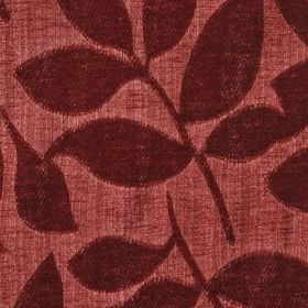 Henley - Russet - Two dark shades of scarlet making up a raised, textured, simple leaf design on polychenille & filament yarn blend fabric