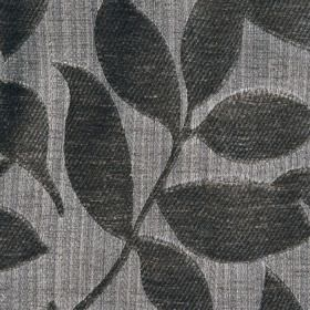 Henley - Silver - Polychenille and filament yarn blend fabric featuring a raised, textured, simple leaf designin two dark shades of grey