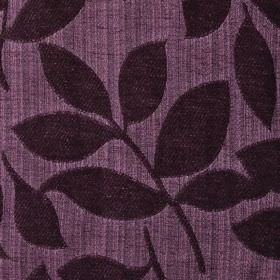 Henley - Grape - Raised, textured leaves indark purple on a polychenille and filament yarn blend fabric background in lighter purple
