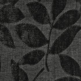 Henley - Onyx - Fabric made from polychenille and filament yarn in two similar dark shades of grey, featuring raised, textured leaves
