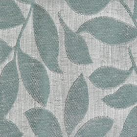 Henley - Duck Egg - Very pale grey polychenille and filament yarn blend fabric, with raised, textured leaves in a duck egg blue colour