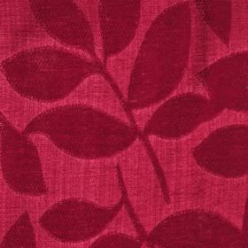 Henley - Poppy Red - Ruby red coloured leaves creating a raised, textured design on bright red polychenille and filament yarn blend fabric