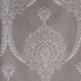 Leila - Dove Grey - Iron grey and white polyester, linen and cotton blend fabric, featuring a large, beautiful, ornate pattern in white