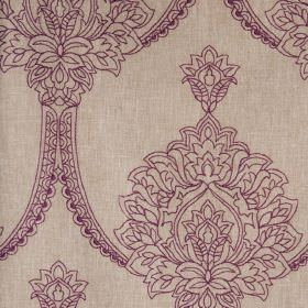 Leila - Grape - Light creamy beige polyester, linen and cotton blend fabric, printed with a dark purple large, beautiful, ornate design