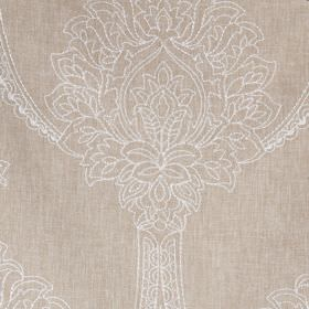 Leila - Linen - Polyester, linen and cotton blend fabric made with a beautiful, large, white, ornate design on a pale brown background