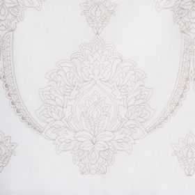 Leila - Ivory - Subtle, beautiful large, ornate designs printed in light grey on bright white fabric made from polyester, linen and cotton