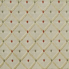 Roma - Green Cherry - A cream coloured grid with tiny green and dark red diamonds set against a pale grey 100% polyester fabric background