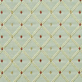 Roma - Duck Egg - 100% polyester fabric in light mint green, behind a simple grid in cream and small dark red and green diamonds