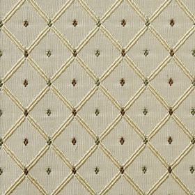 Roma - Green Haze - Dark grey and green shades making up a tiny diamond print with a cream coloured grid on light grey 100% polyester fabric