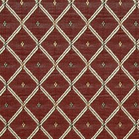 Roma - Claret - Burgundy coloured 100% polyester fabric patterned with a bright white grid and tiny diamonds in light gold and dark grey