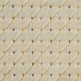 Roma - Soft Gold - Diamonds and a grid patternin cream, gold and brown shades against a pale grey background of 100% polyester fabric