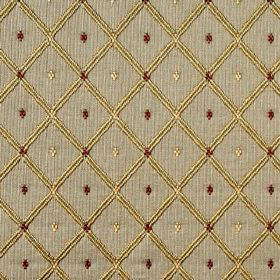 Roma - Antique Brass - Fabric made from 100% polyester in grey, with a grid and tiny diamond pattern in gold and dark ruby red colours