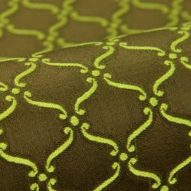 Zermatt CS - Green Brown - Light apple green coloured swirls and dots printed in a simple, repeated design on dark grey 100% Trevira CS fabr